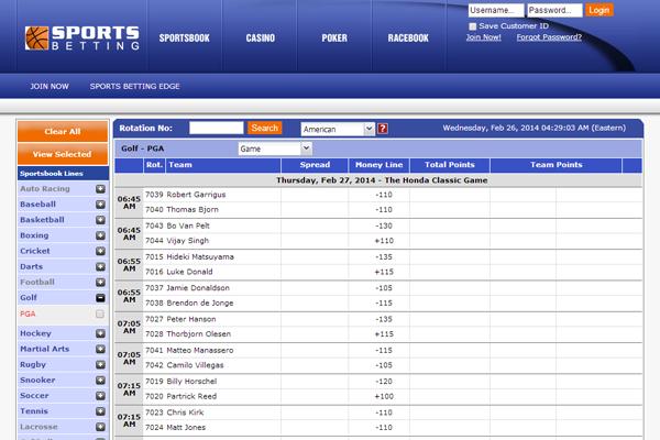 Sportsbetting screen shot
