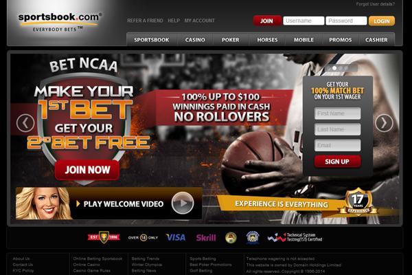 Sportsbook.com screen shot