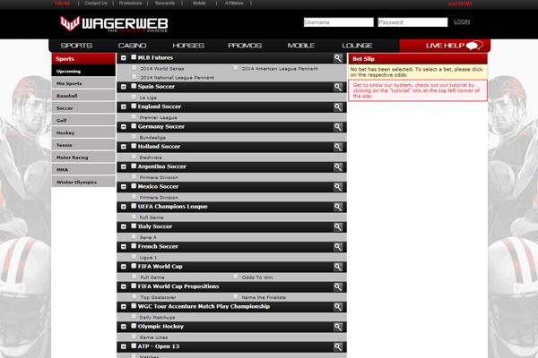 Wager Web screen shot
