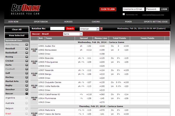 Bet Online screen shot