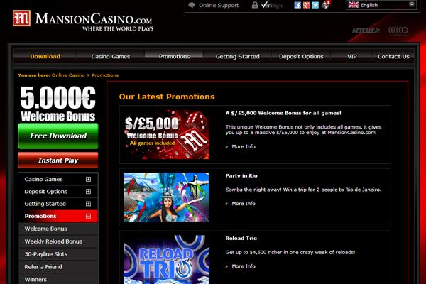 Mansion Casino screen shot