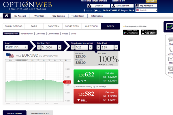 OptionWeb screen shot