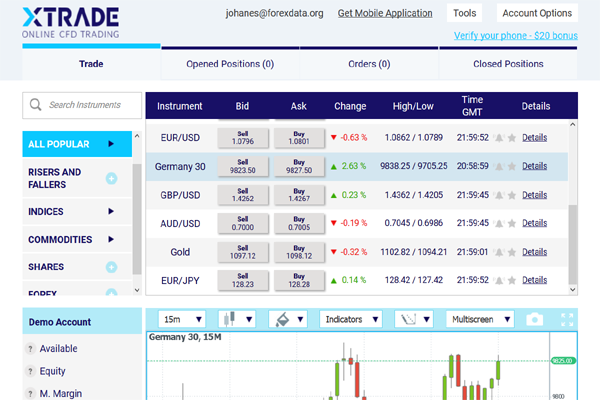 XTrade screen shot